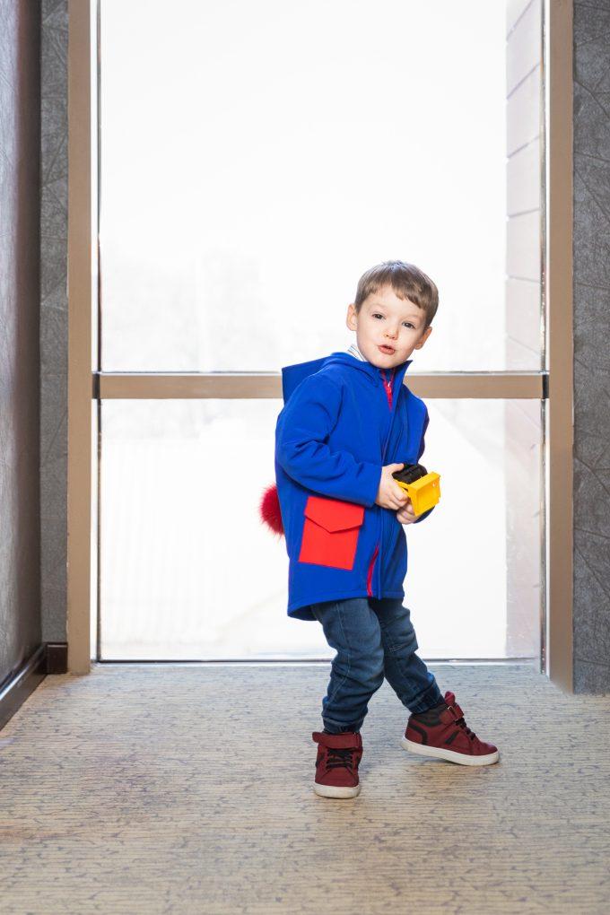 Jacheta din softshell cu gluga pentru baieti, culoare Albastru Royal