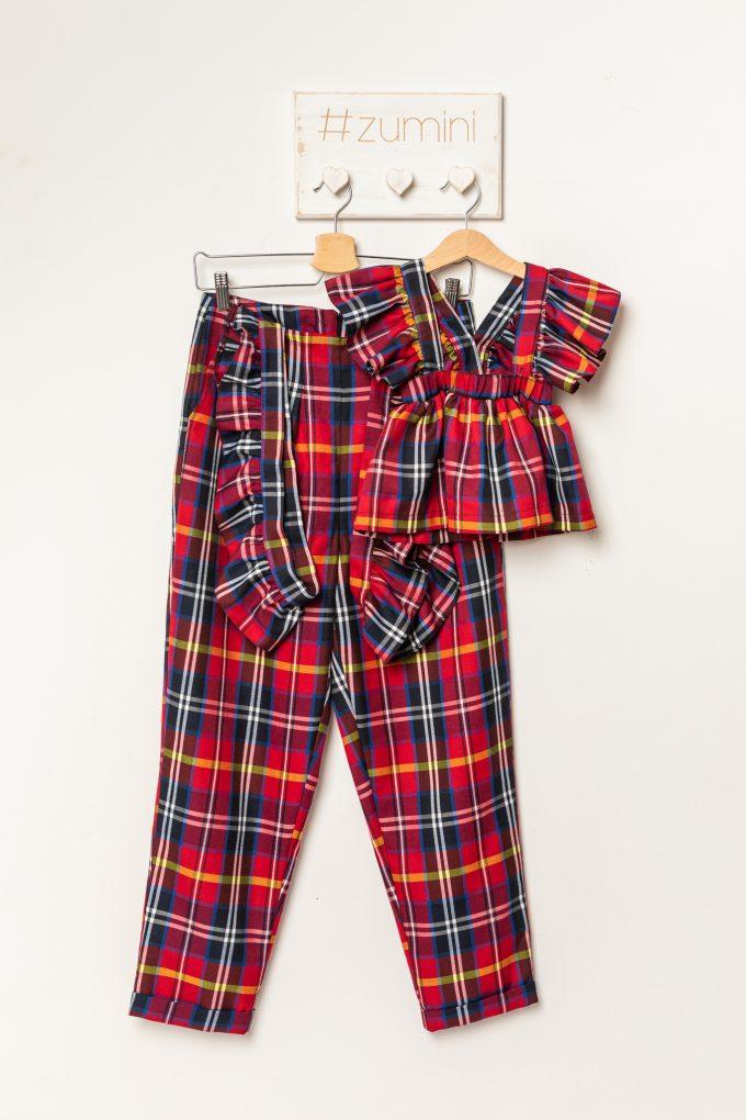 Set pantaloni si fustita cu bretele mama-fiica | carouri rosii